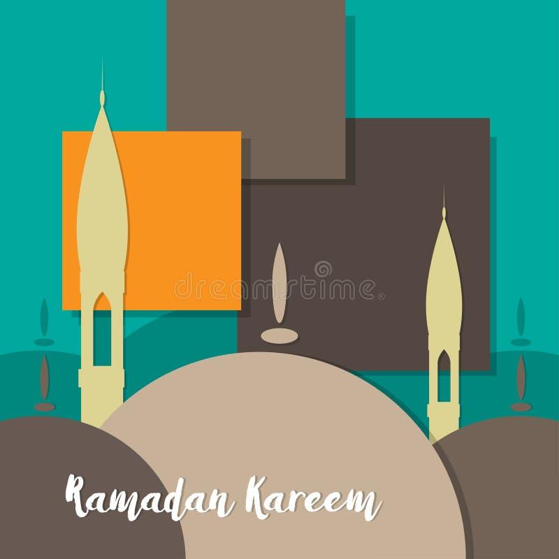 Den drog handen skissar av kupol för Ramadan Kareem islamisk designmoské stock illustrationer