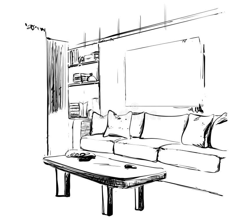 Den drog handen skissar av modern vardagsrum som är inre med en soffa, kuddar, tabellen, bokhyllan och bilder m?blemang vektor illustrationer