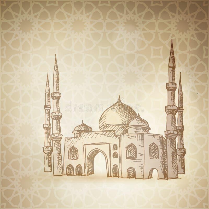 Den drog handen skissar av moskén på den guld- bakgrunden med den traditionella arabiska modellen Hälsningkort, inbjudan vektor illustrationer