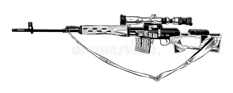Den drog handen skissar av prickskyttgeväret i svart som isoleras på vit bakgrund Detaljerad teckning för tappningetsningstil stock illustrationer