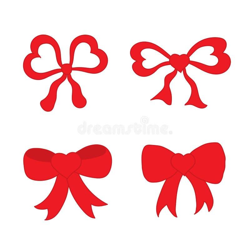 Den drog handen skissar av röda festliga pilbågar i formen av hjärta royaltyfri illustrationer
