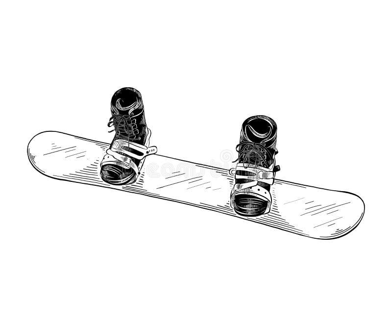 Den drog handen skissar av snowboarden i svart som isoleras på vit bakgrund Detaljerad teckning för tappningetsningstil stock illustrationer