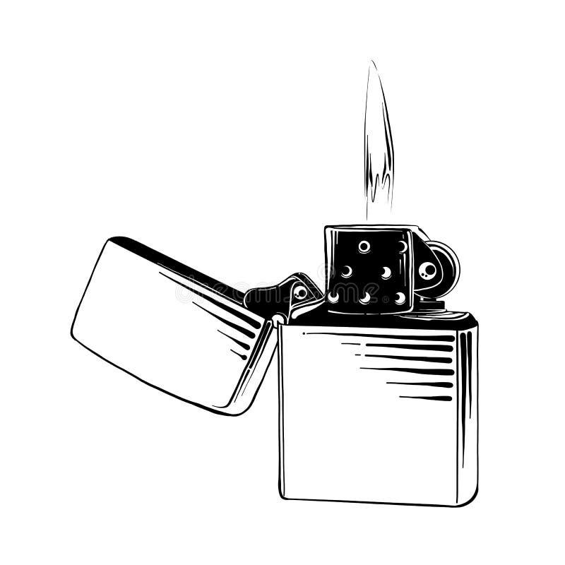 Den drog handen skissar av stålsätter tändaren i svart som isoleras på vit bakgrund Detaljerad teckning för tappningetsningstil vektor illustrationer