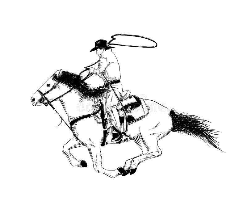 Den drog handen skissar av västra cowboy på hästen i svart som isoleras på vit bakgrund Detaljerad teckning för tappningetsningst stock illustrationer