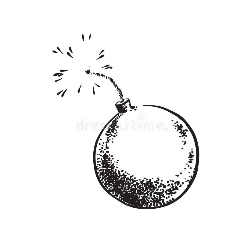 Den drog handen skissar bombarderar retro stiltappning Illustration för teckning för vektorsvartfärgpulver som isoleras på vit ba royaltyfri illustrationer