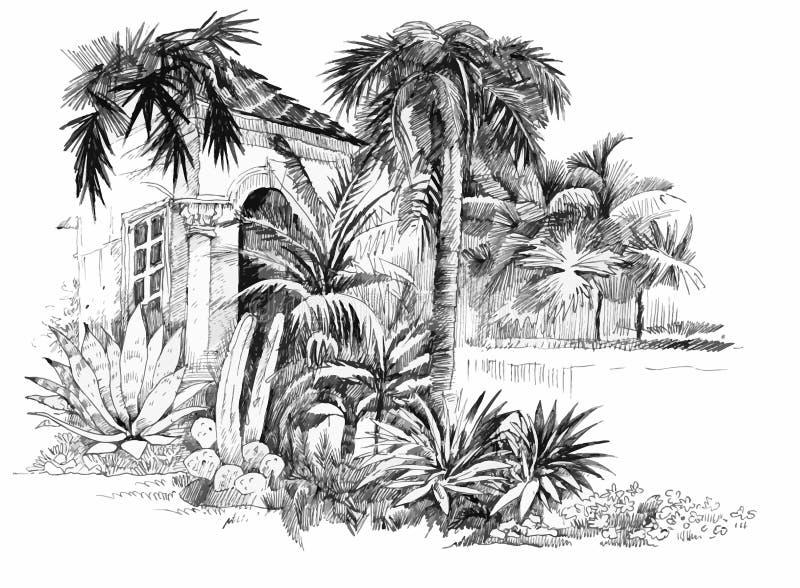 Den drog handen skissar den tropiska semesterortillustrationen royaltyfri illustrationer