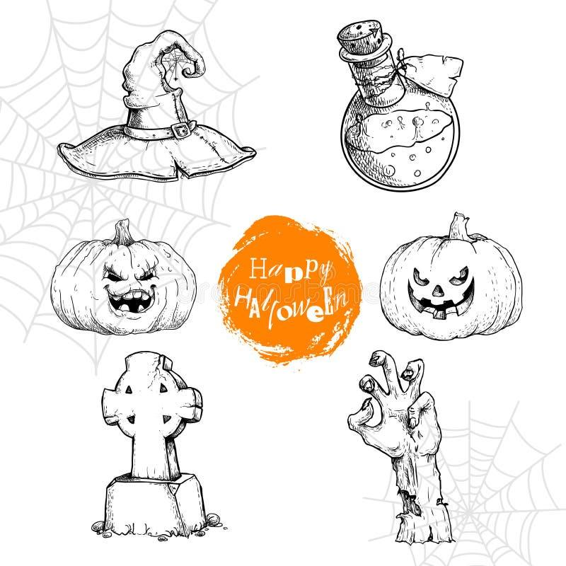Den drog handen skissar den halloween symboluppsättningen Häxahatt, dryck, stålar-nolla-lykta pumpor, arg gravsten och levande dö royaltyfri illustrationer