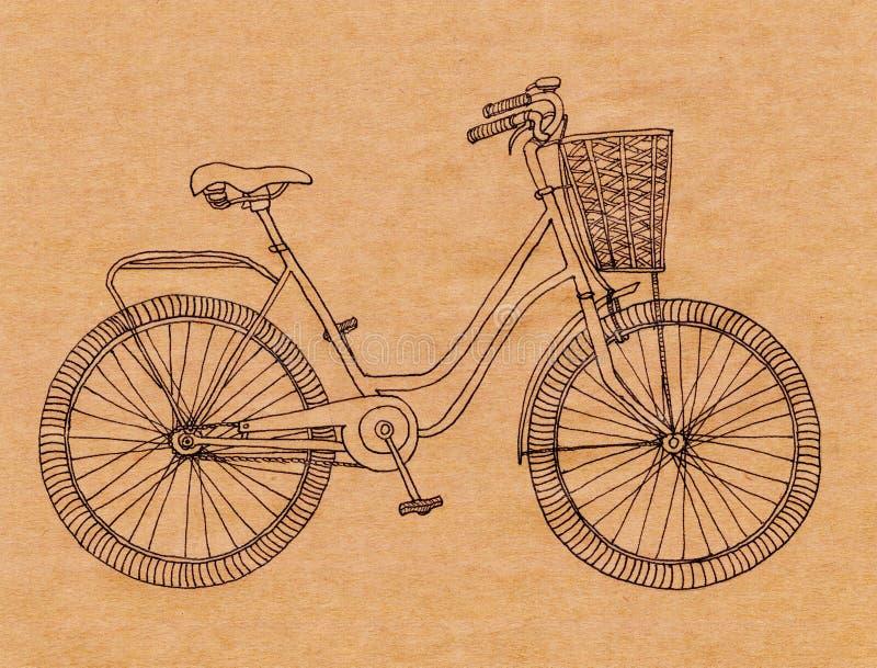 Den drog handen skissar illustrationen av cykeln tappningcykel stock illustrationer