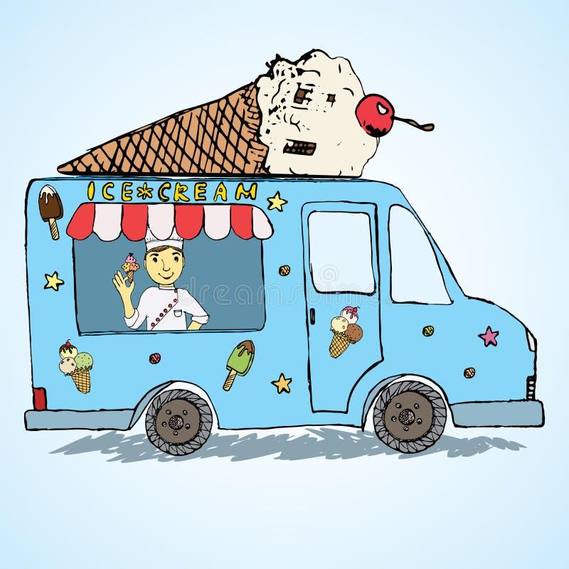 Den drog handen skissar lastbilen, färg och skämtsamt för glass med den yang mansäljaren och glasskotten överst royaltyfri illustrationer