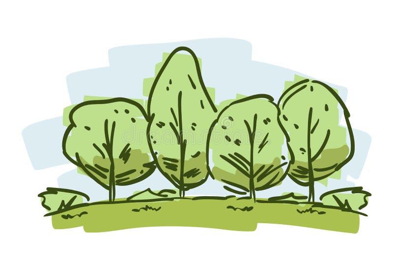 Den drog handen skissar med färgträd Naturligt landskap för tecknad film på vit bacground stock illustrationer