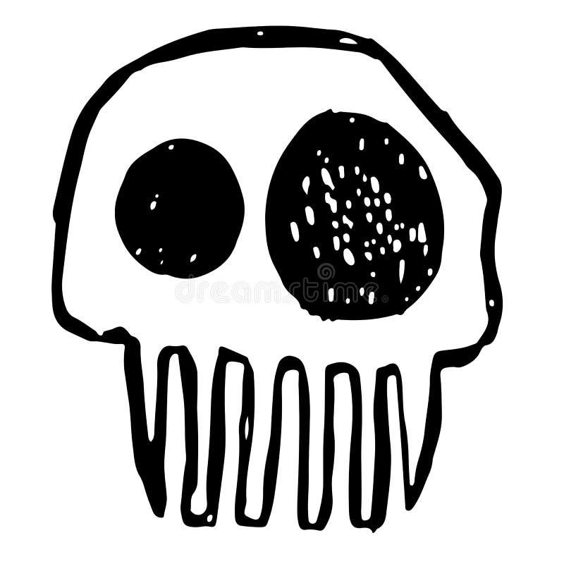 Den drog handen skissar skallen Tecknad filmskalleillustration Brinna skalle på svart bakgrund stock illustrationer