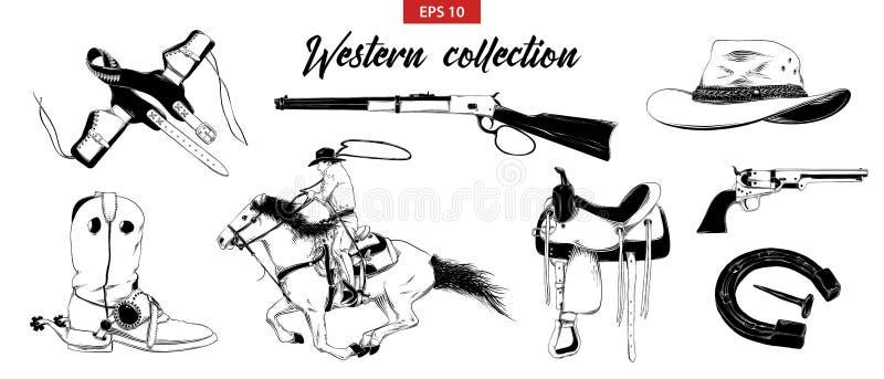 Den drog handen skissar ställde in av västra cowboybeståndsdelar som isoleras på vit bakgrund Detaljerad tappningetsningteckning royaltyfri illustrationer