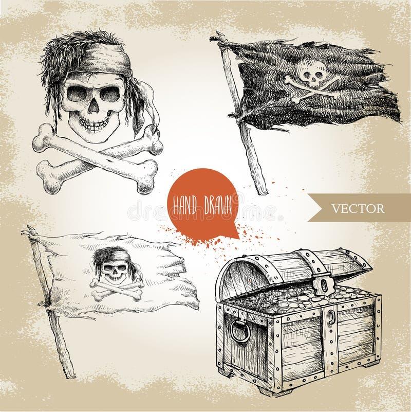 Den drog handen skissar stil piratkopierar uppsättningen Skattbröstkorgen, Jolly Roger, piratkopierar flaggan vektor illustrationer