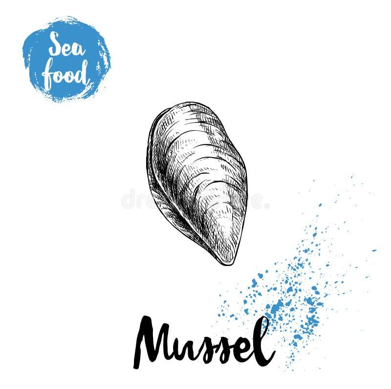 Den drog handen skissar den stil stängda nya musslan Havs- vektorillustrationaffisch royaltyfri illustrationer