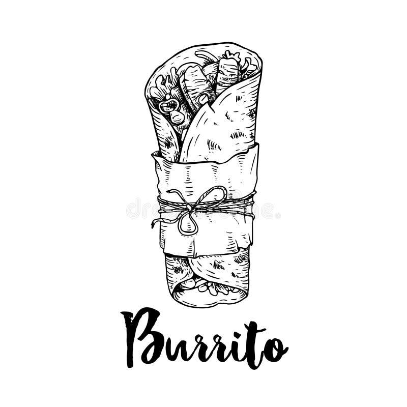 Den drog handen skissar stilburritosjalen med köttstycken i papperspacke Traditionell mexicansk kokkonstillustration Skjutit i en royaltyfri illustrationer