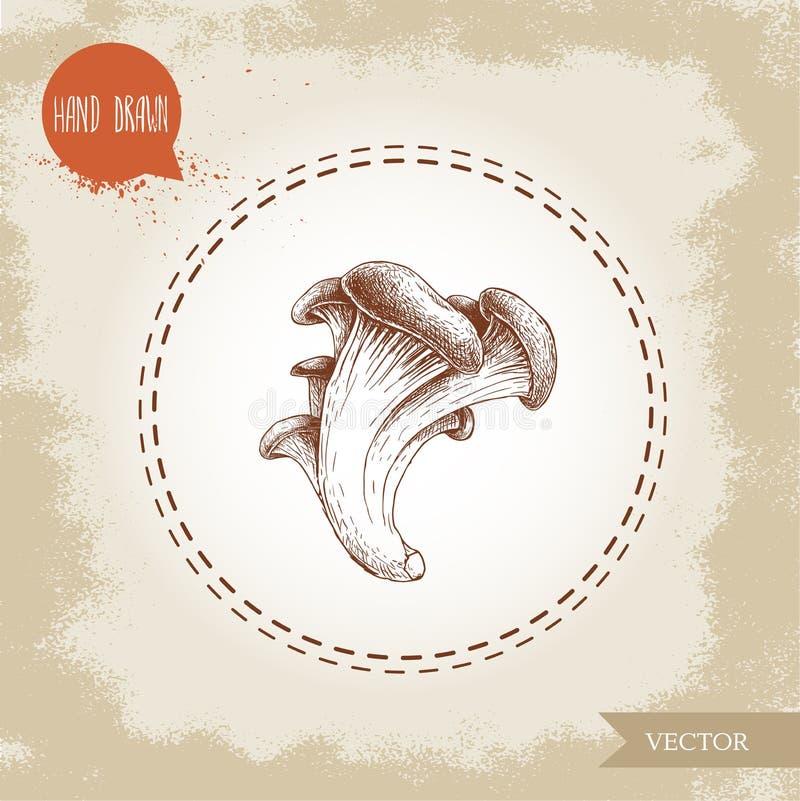 Den drog handen skissar stilostronchampinjoner Naturlig mat för höstskog vektor illustrationer