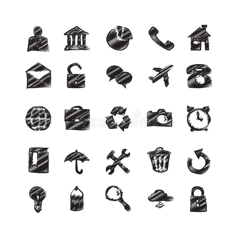 Den drog handen skissar symboler stock illustrationer