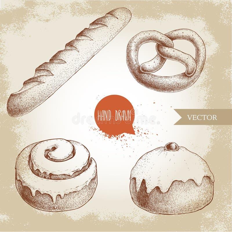 Den drog handen skissar uppsättningen för illustrationer för stilbagerigods Ny rimmad kringla, fransk bagett, med is kanelbrun bu vektor illustrationer