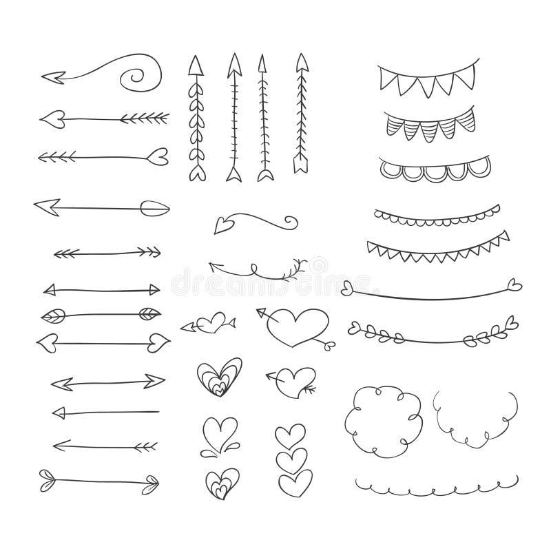 Den drog handen smyckar hjärtor och pilar vektor illustrationer