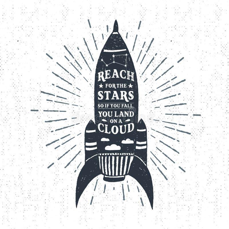 Den drog handen texturerade tappningetiketten med raketvektorillustrationen stock illustrationer