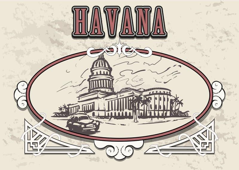 Den drog havannacigarrhanden skissar vektorillustrationen capitol havana stock illustrationer