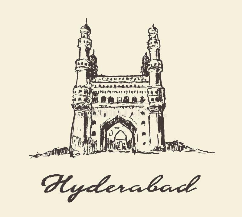 Den drog Hyderabad Indien Charminar vektorn skissar vektor illustrationer