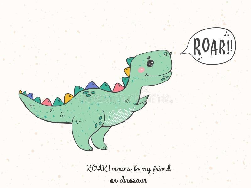 Den drog illustrationen av tecknad filmhanden skissar dinosaurien Kall dinosaurie för barnkammaret-skjortan, ungar dräkt, inbjuda vektor illustrationer