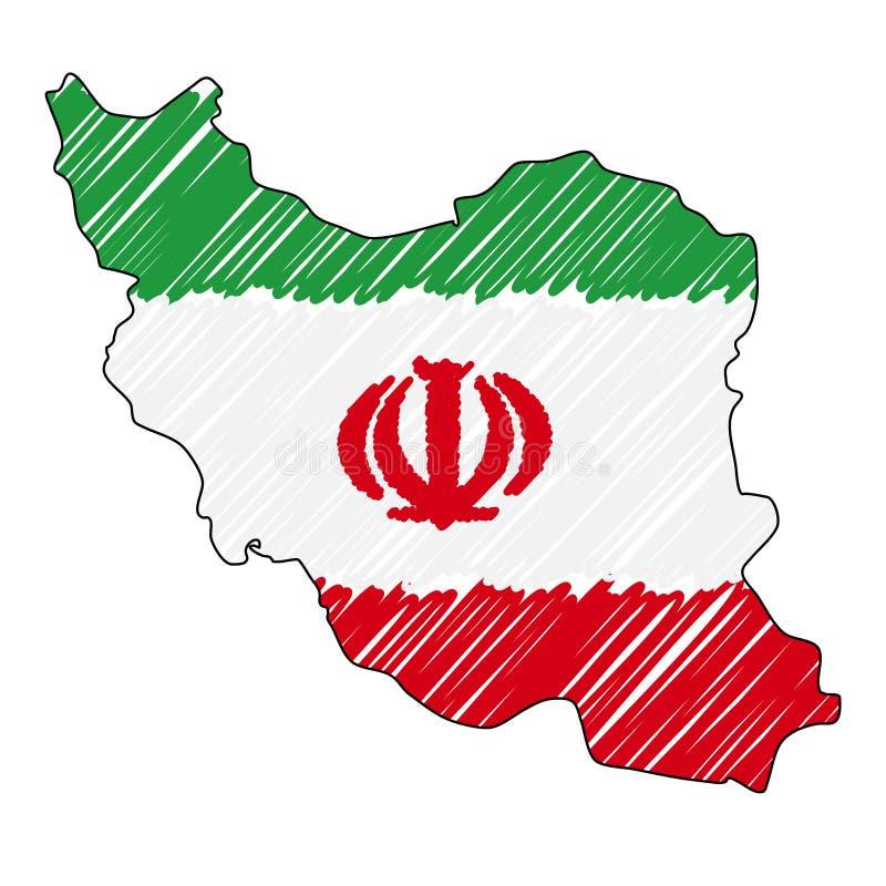 Den drog Iran ?versiktshanden skissar r Lands?versikt f?r stock illustrationer