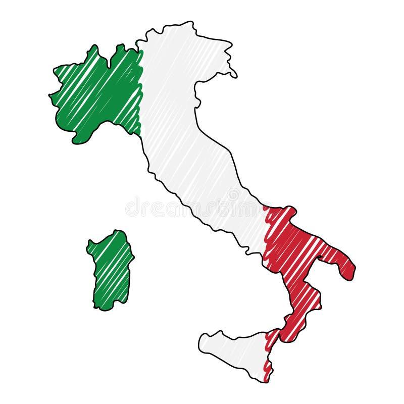 Den drog Italien ?versiktshanden skissar r Lands?versikt f?r stock illustrationer
