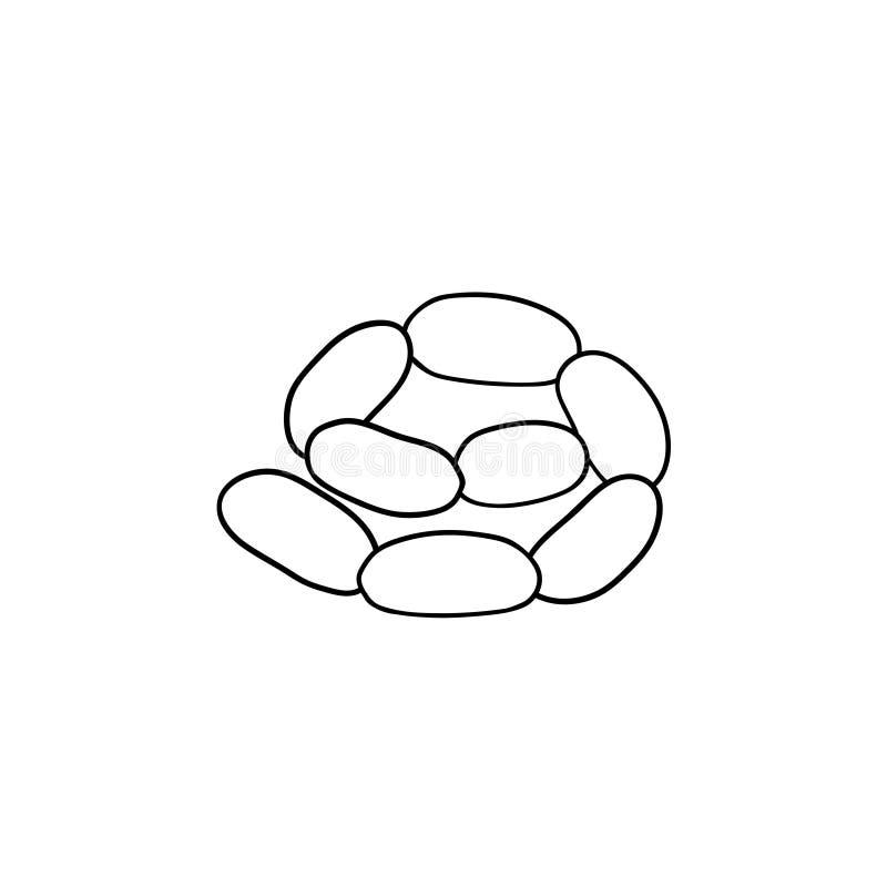 Den drog korvkedjehanden skissar symbolen royaltyfri illustrationer