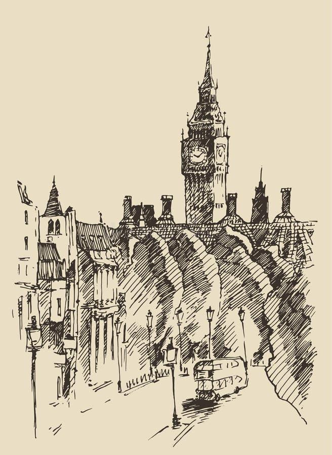 Den drog London England tappninghanden skissar vektorn vektor illustrationer
