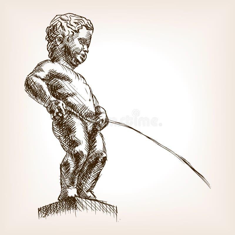 Den drog Manneken Pis handen skissar stilvektorn vektor illustrationer