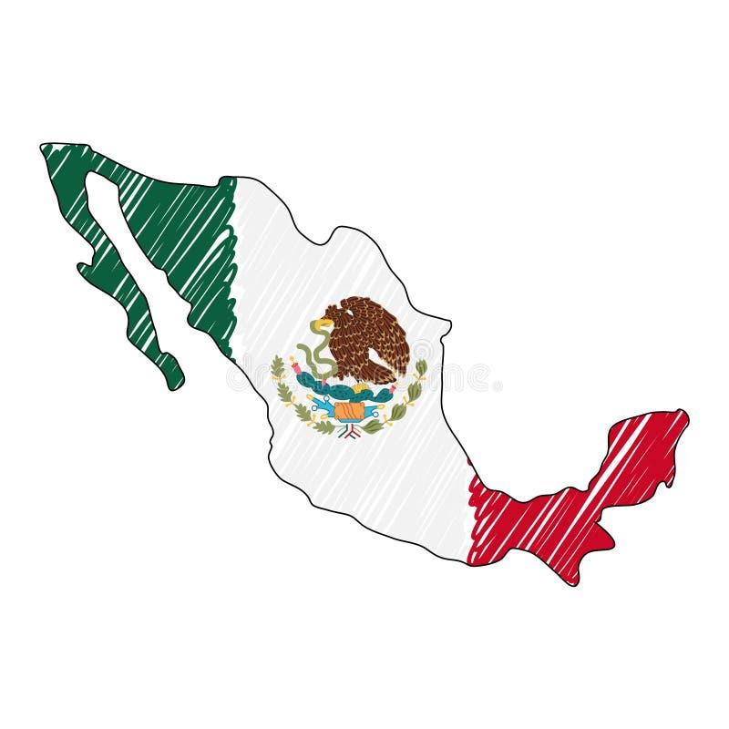 Den drog Mexico ?versiktshanden skissar r Lands?versikt f?r royaltyfri illustrationer