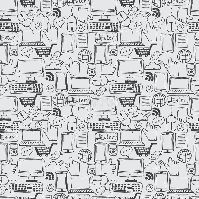 den drog modellhanden skissar symboler för affären, internet a royaltyfri illustrationer