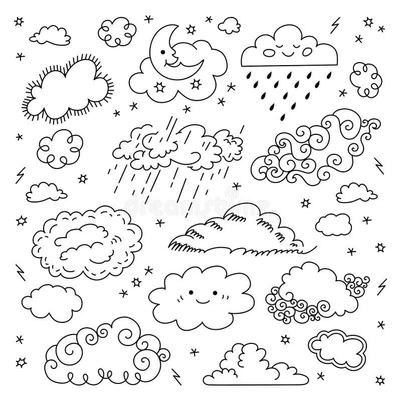 Den drog molnhanden fördunklar symbolsuppsättningen Barns himmel- och vädersymboler, moln för natthimmel, måne-, regn- och teckna royaltyfri illustrationer