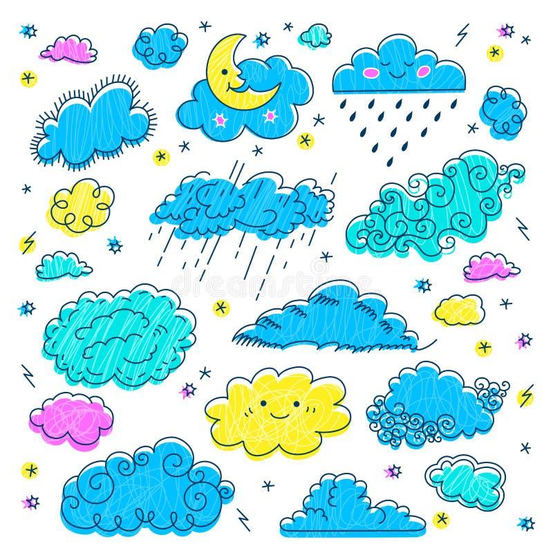 Den drog molnhanden fördunklar symbolsuppsättningen Barns himmel- och vädersymboler Moln för vektornatthimmel, måne-, regn- och t royaltyfri illustrationer
