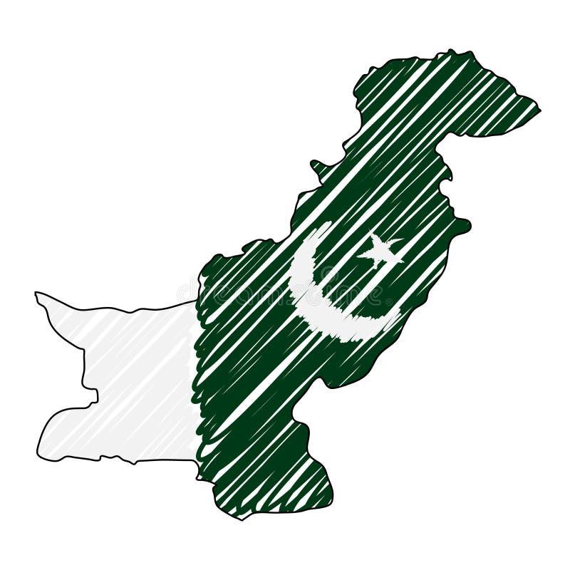 Den drog Pakistan översiktshanden skissar r Lands?versikt f?r stock illustrationer