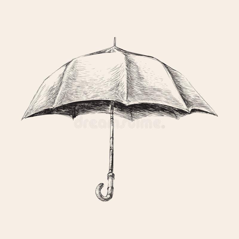 Den drog paraplyhanden skissar vektorillustrationen stock illustrationer