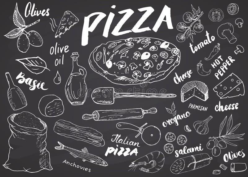 Den drog pizzamenyhanden skissar uppsättningen Mall för pizzaförberedelsedesign med ost, oliv, salami, champinjoner, tomater, mjö stock illustrationer