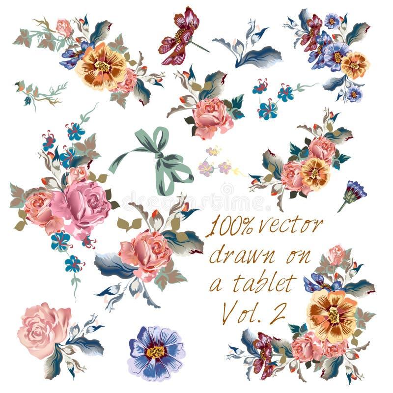 Den drog samlingen av vektorhanden blommar i vattenfärgklassikerst stock illustrationer
