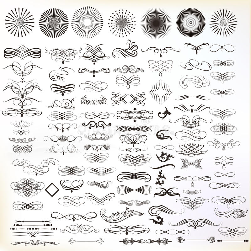 Den drog samlingen av vektorhanden frodas i inristad stil Mig stock illustrationer