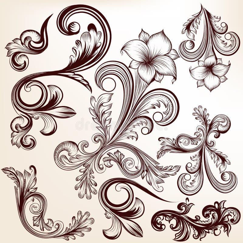 Den drog samlingen av vektorhanden virvlar runt i tappningstil vektor illustrationer