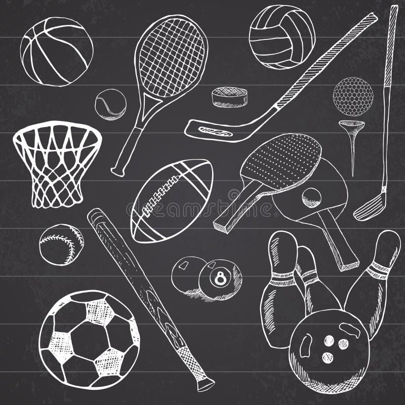 Den drog sportbollhanden skissar uppsättningen med baseball, bowling, tennisfotboll, golfbollar och andra sportobjekt Dra klotter royaltyfri illustrationer