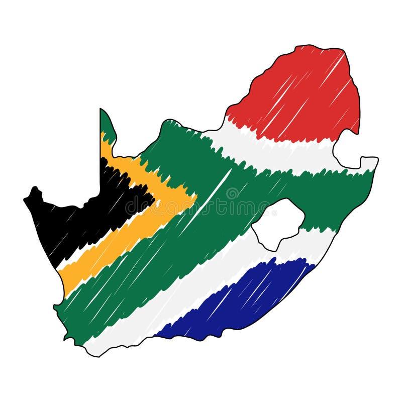 Den drog Sydafrika översiktshanden skissar r Lands?versikt f?r vektor illustrationer