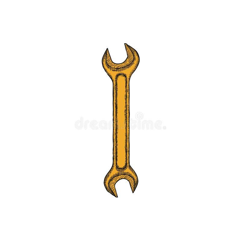 Den drog tappningskiftnyckelhanden skissar logodesignmallen vektor royaltyfri illustrationer