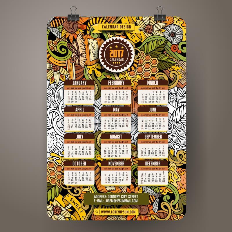Den drog tecknad filmhanden klottrar honung den 2017 år kalendermallen royaltyfri illustrationer