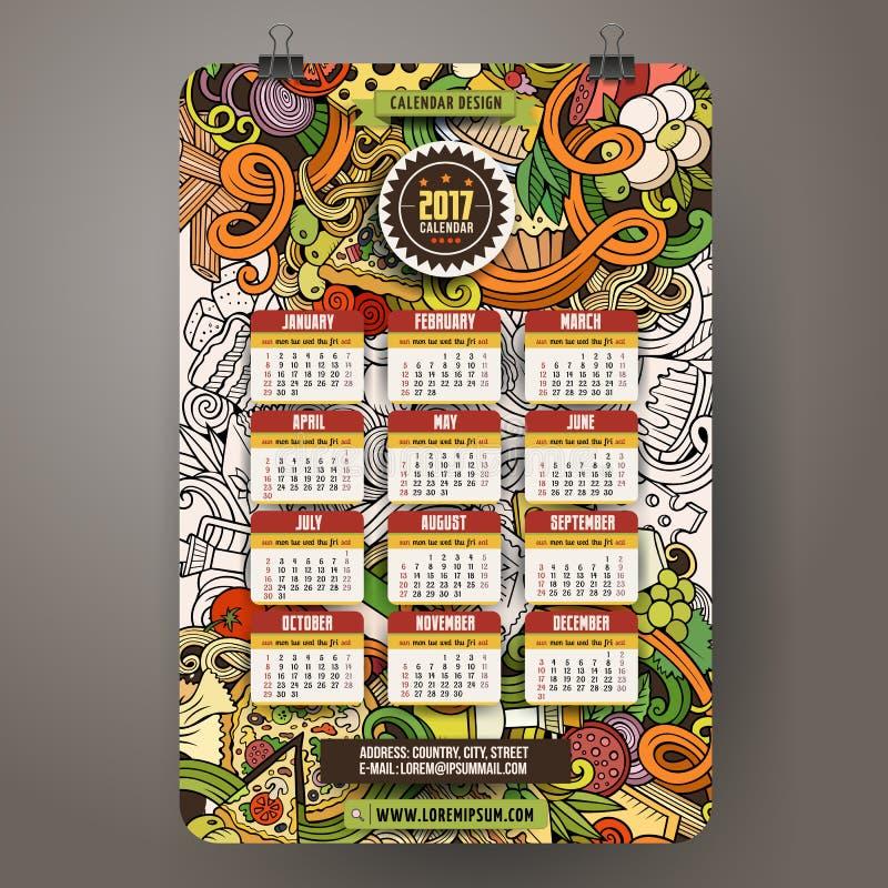 Den drog tecknad filmhanden klottrar italiensk mat den 2017 år kalendermallen vektor illustrationer