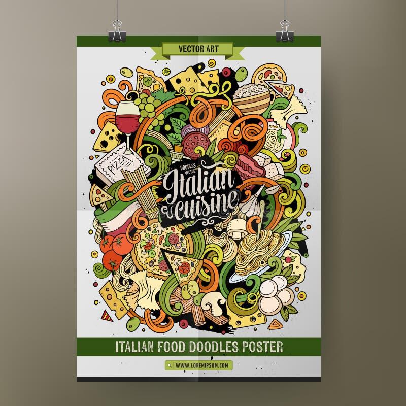 Den drog tecknad filmhanden klottrar den italienska mataffischmallen vektor illustrationer