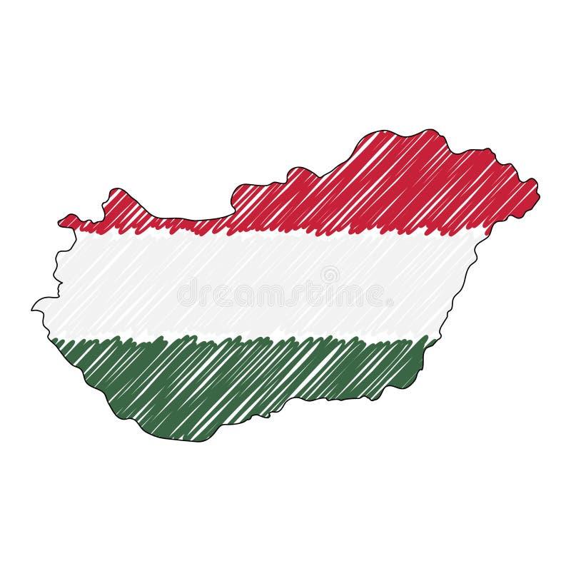 Den drog Ungern?versiktshanden skissar r Lands?versikt f?r stock illustrationer