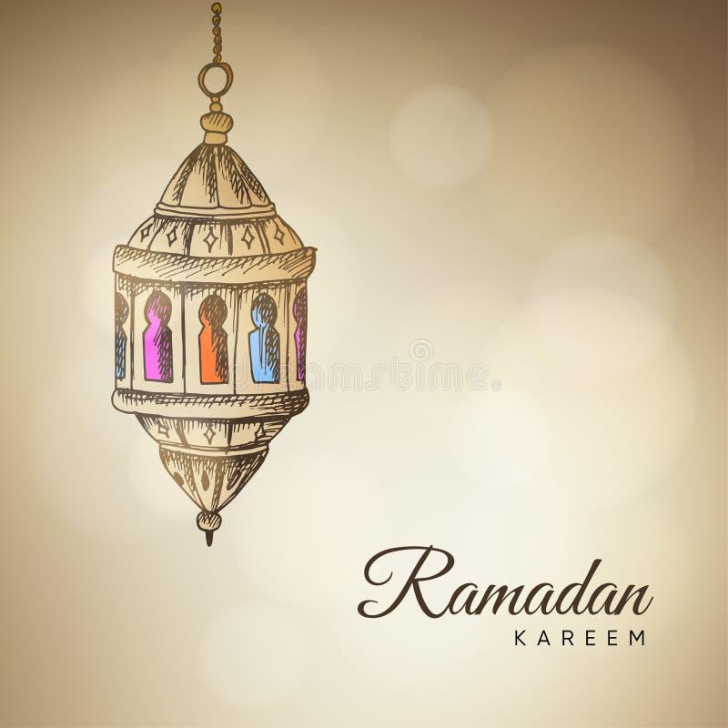 Den drog upplysta handen skissar av den arabiska lampan, lykta Guld- vektorillustrationbakgrund för muslimsk gemenskaphelgedom stock illustrationer